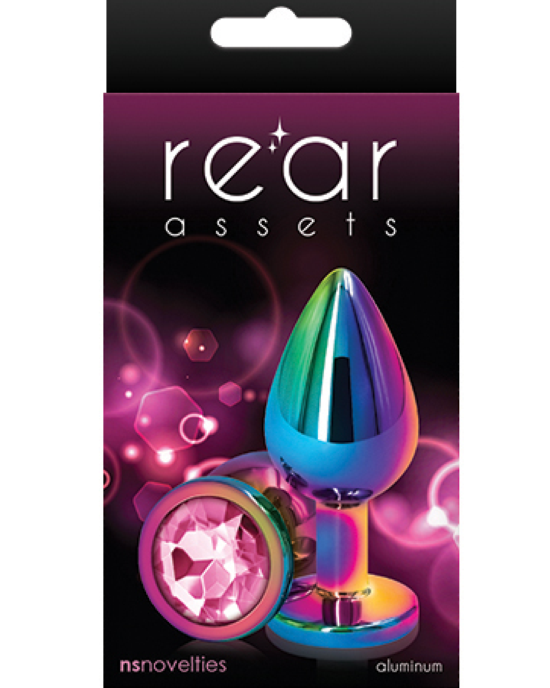 Rear Assets Multi Color and Pink Gemstone Anal Plug - Small