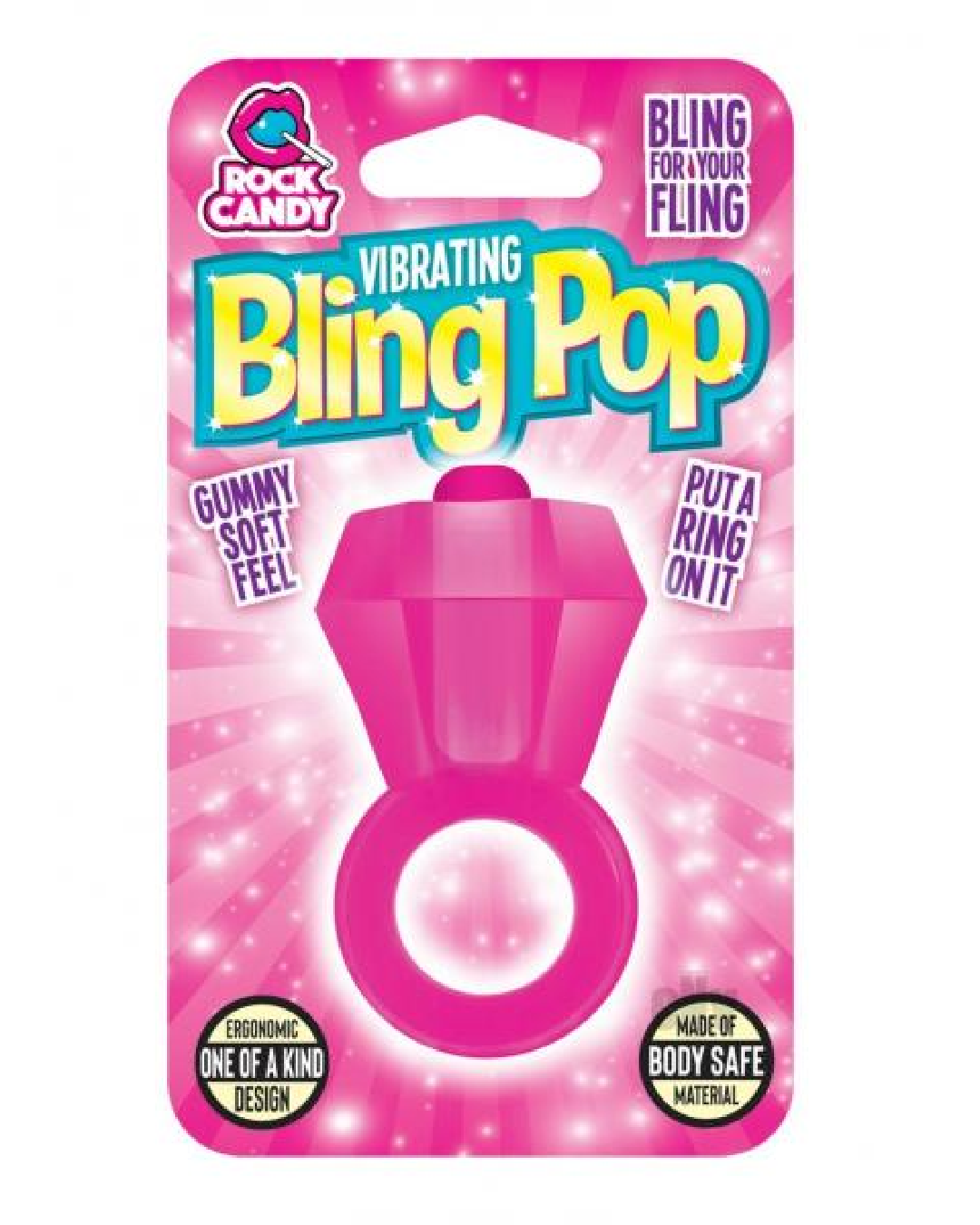 Bling Pop Ring Vibrating Cock Ring - Pink