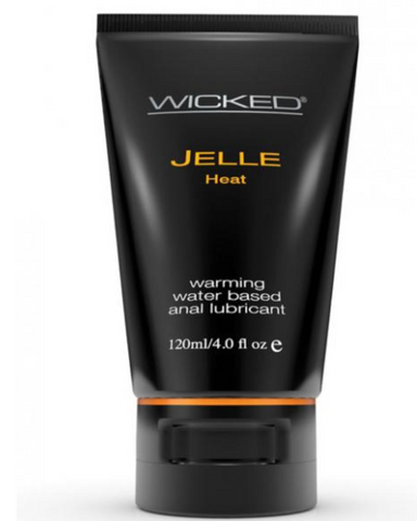Wicked Jelle Heat Anal Lubricant bottle on white background