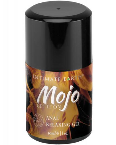 Mojo Anal Relaxing Gel by Intimate Earth 1 oz product close up on white background