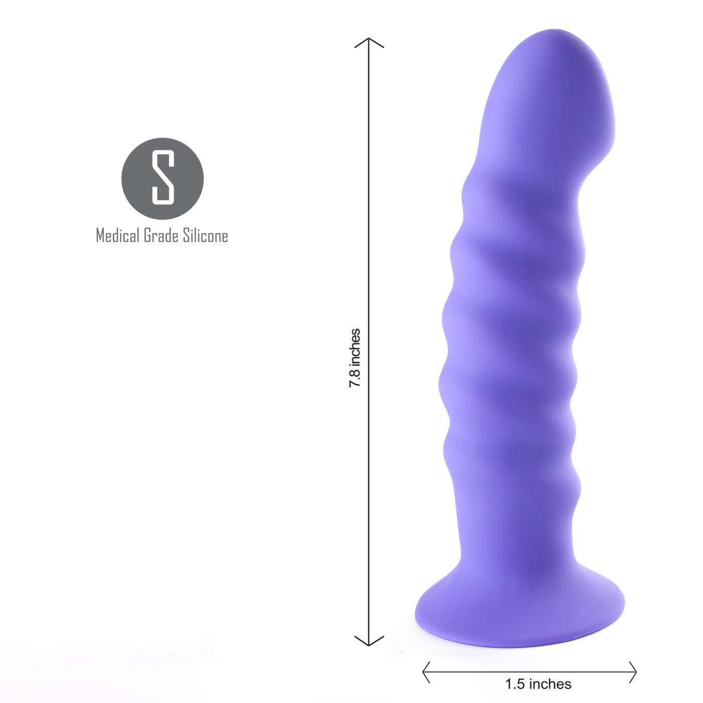 Maia Kendall Silicone 8 Inch Ribbed Dildo - Purple side view against a white background with arrows indicating the size of the dildo