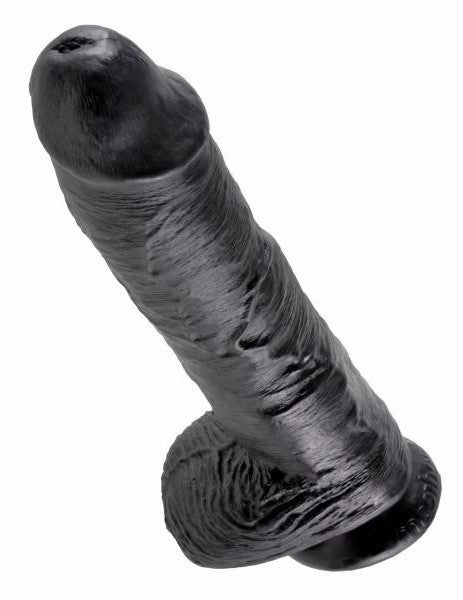 King Cock 10 Inch Suction Cup Dildo with Balls Black