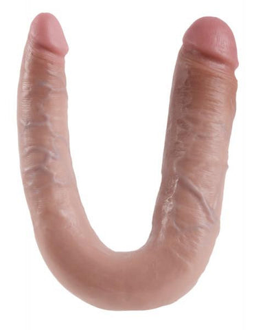 King Cock U Shaped Large Double Trouble Dildo -Vanilla