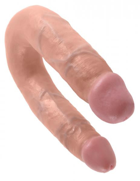 King Cock U Shaped Medium Double Trouble Dildo - Vanilla ends