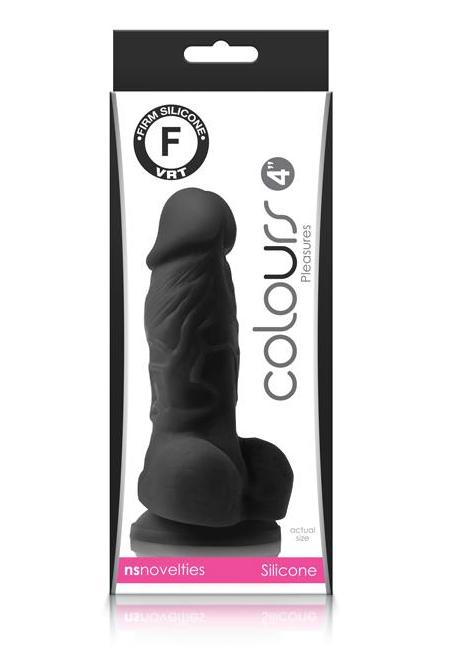 Colours Pleasures Realistic 4 Inch Silicone Dildo by NS Novelties - Black box