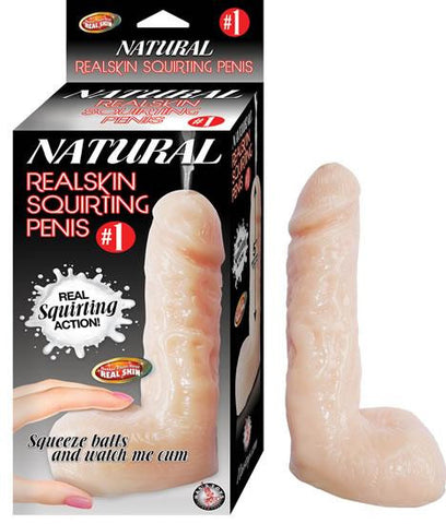 Natural Realskin Squirting Dildo 6 inches next to the box on a white background