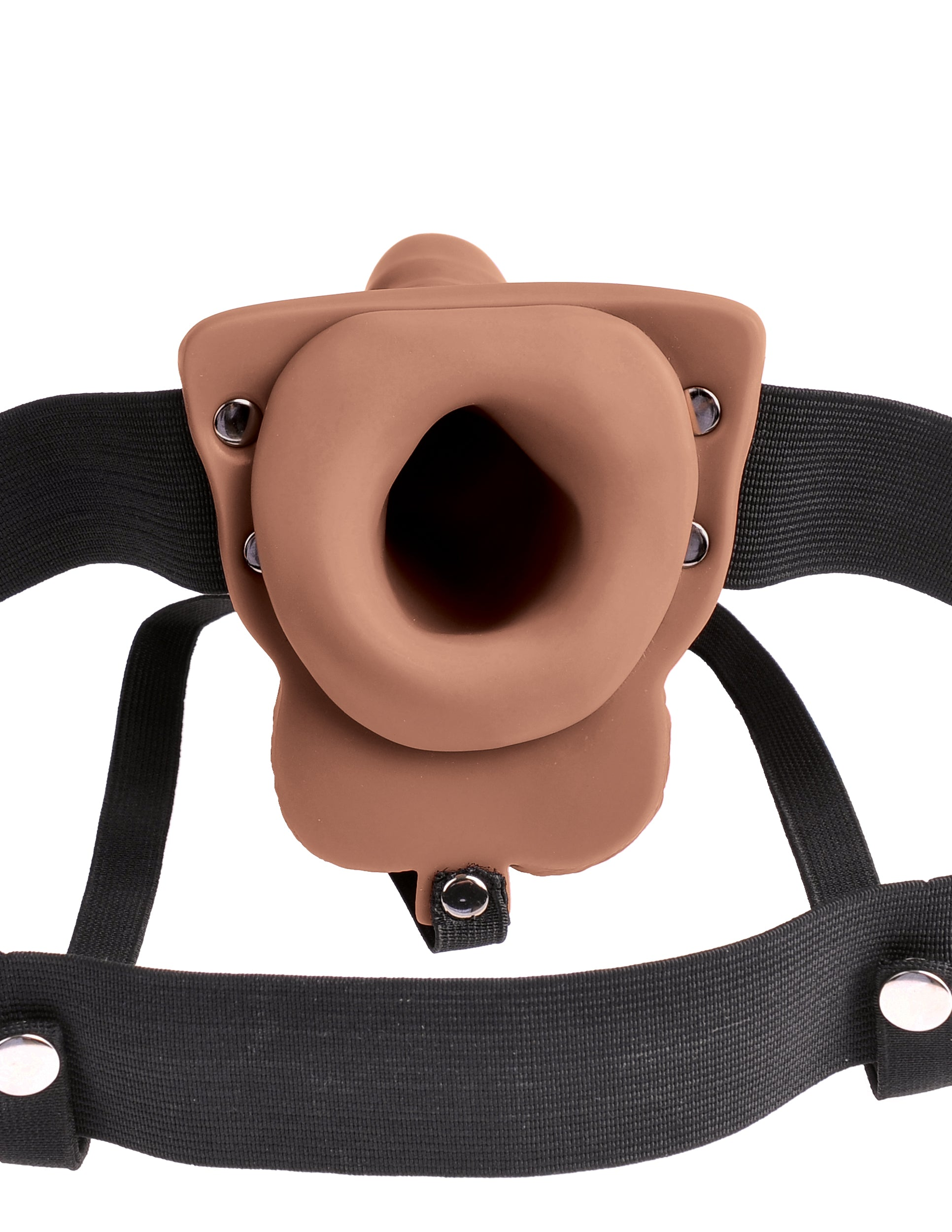 Fetish Fantasy Series Vibrating 6 Inch Hollow Rechargeable Strap-On with Balls - Caramel view of the entrance