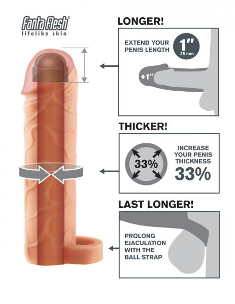 Fantasy X-tensions Perfect 1 inch Penis Extension with Ball Strap - Vanilla diagram of how to use