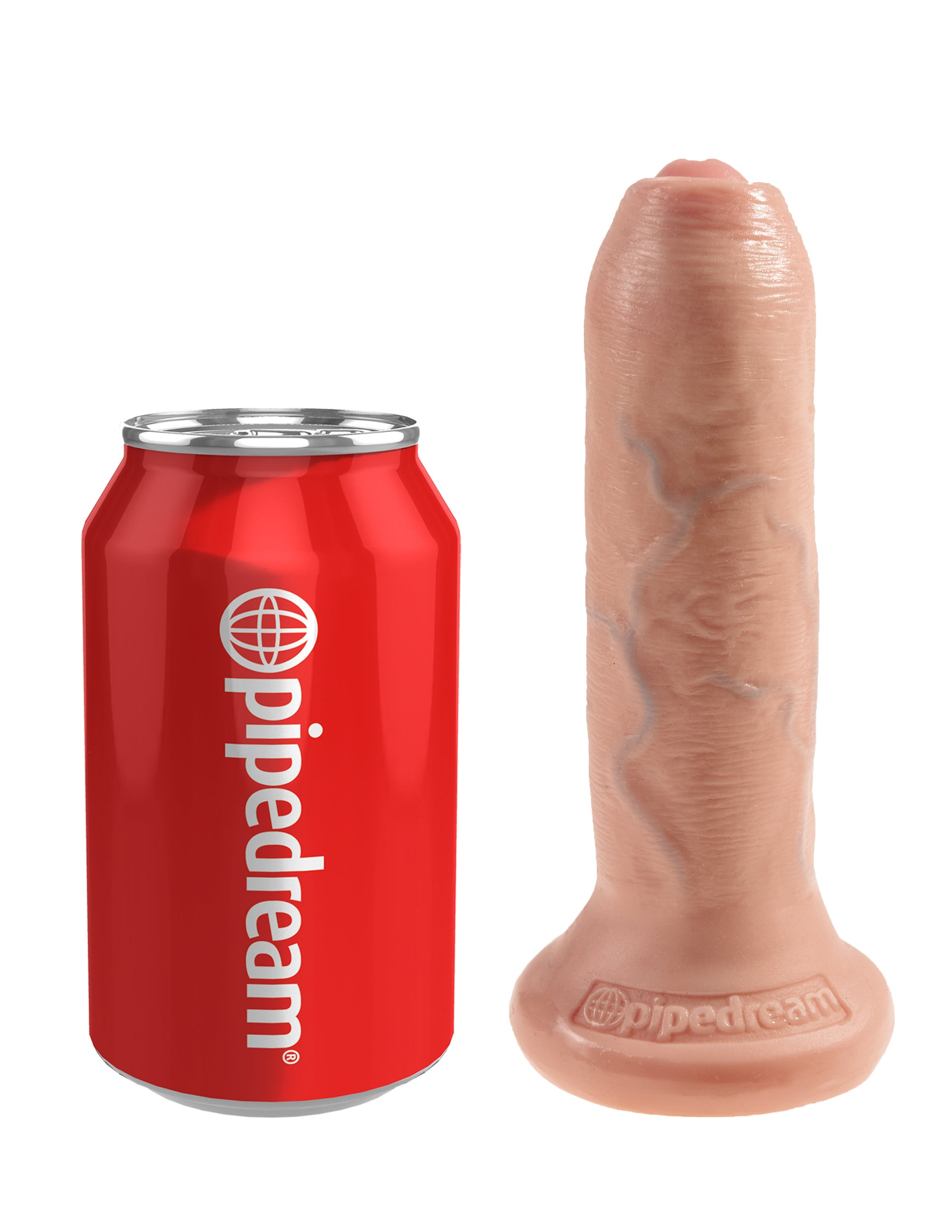 "King Cock Uncut 6"" Dildo with Moving Foreskin by Pipedream - Vanilla size comparison"