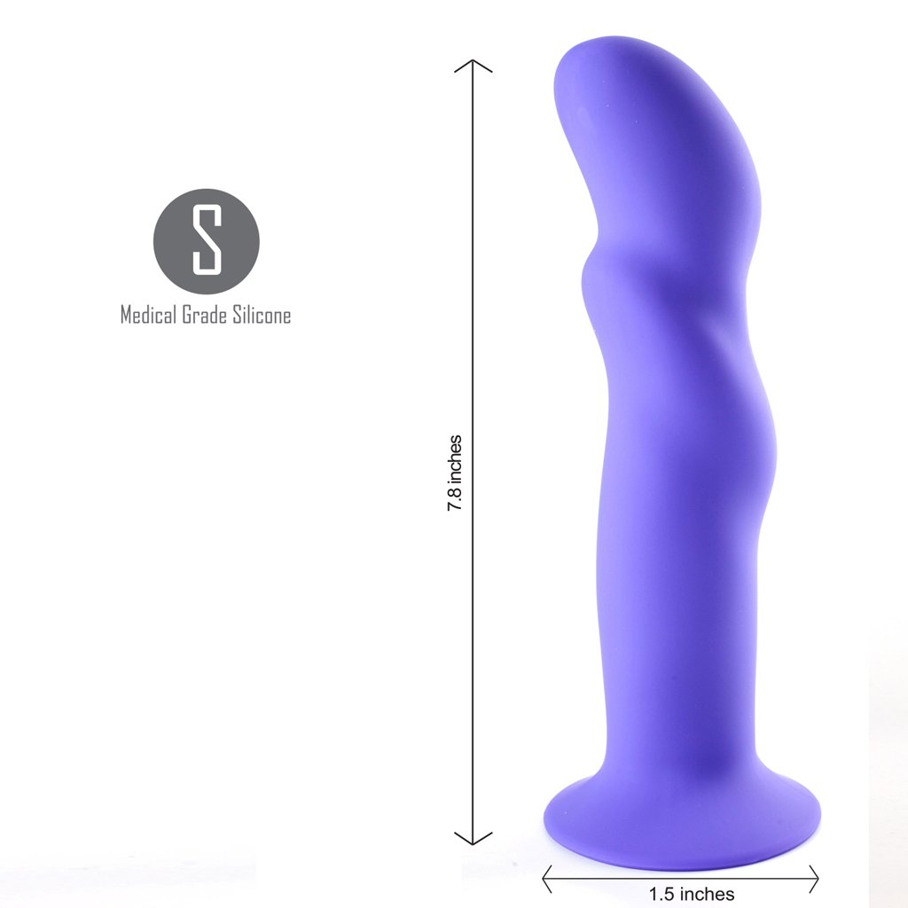 Maia Riley 8 Inch Firm Silicone Dildo - Purple measurements