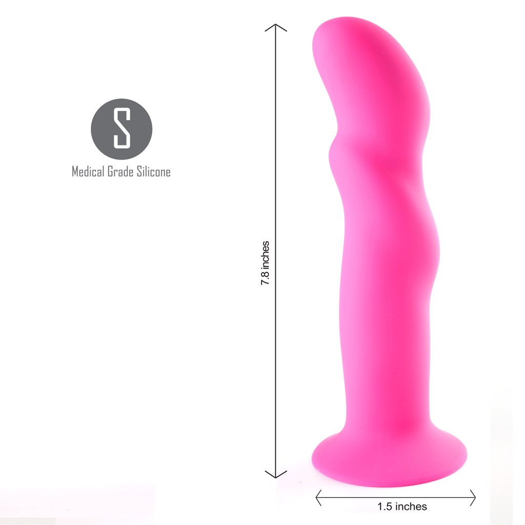 Maia Riley 8 Inch Firm Silicone Dildo - Pink measurements