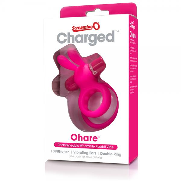 Screaming O Charged Ohare Vibrating Rabbit Styled Cock Ring pink box
