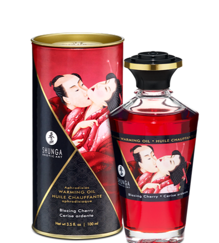 Aphrodisiac Warming Massage Oil - Blazing Cherry by Shunga