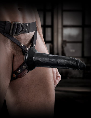 Sir Richard's Command Harness & Hollow 8 Inch Strap On - Black on model