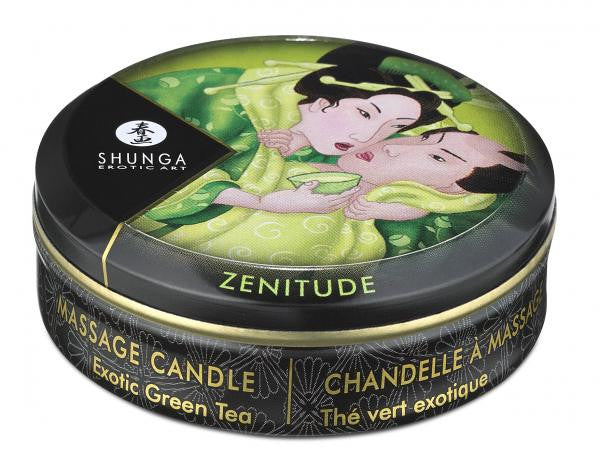 Shunga Erotic Massage Candle Green Tea tin