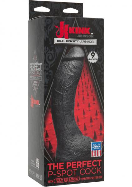 The Perfect P-Spot Cock Black 9 Inch Dildo - Kink by Doc Johnson box
