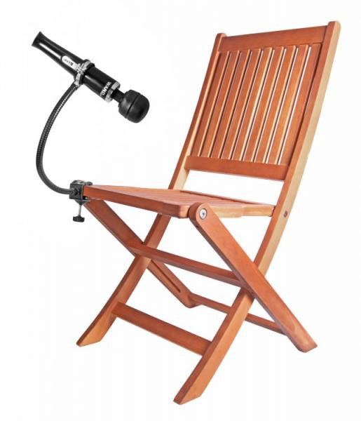 Wand Assist Adjustable Gooseneck Hands-Free Wand Holder attached to chair