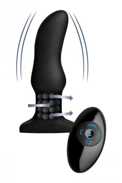 Rimmers Model M Curved Rimming Remote Control Butt Plug with remote showing motion