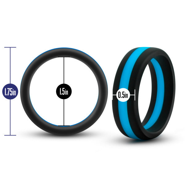 Performance Silicone Silicone Go Pro Cock Ring by Blush Novelties - Black & Blue with measurements