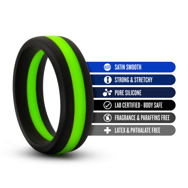 Performance Silicone Silicone Go Pro Cock Ring by Blush Novelties - Black & Green with features listed