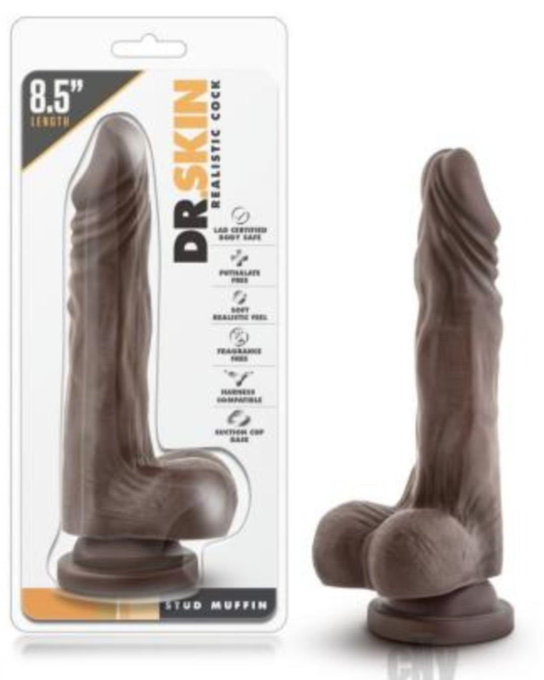 Dr Skin Stud Muffin 8.5 Inch Realistic Dildo with Suction Cup by Blush Novelties - Chocolate in Package