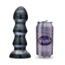 Jet Black Jack Carbon Metallic Black Butt Plug by Blush size compared to a pop can