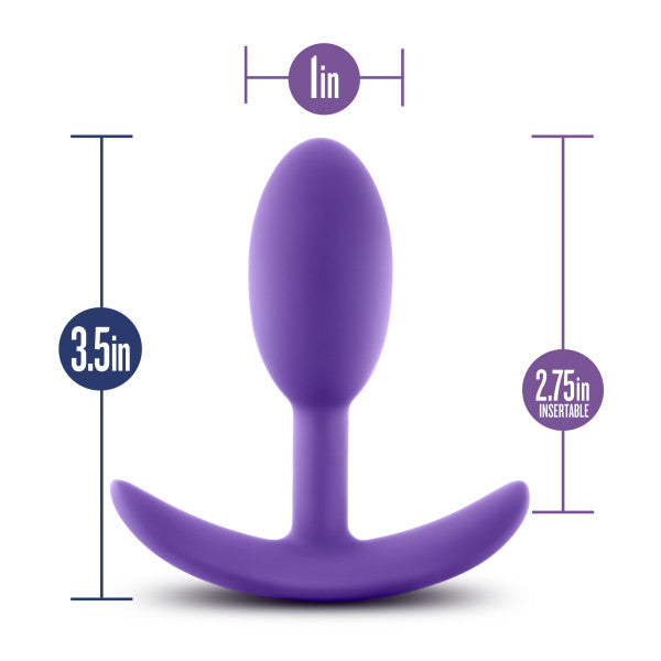 Luxe Wearable Silicone Vibra Slim Plug Small by Blush - Purple with measurements
