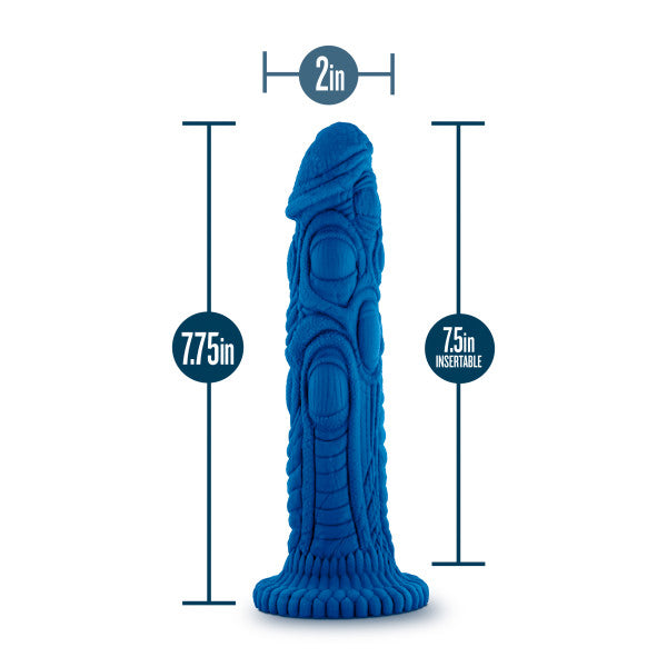 "Realm Draken Silicone Lock On Harness Compatible 7.75"" Dildo - Blue measurements"