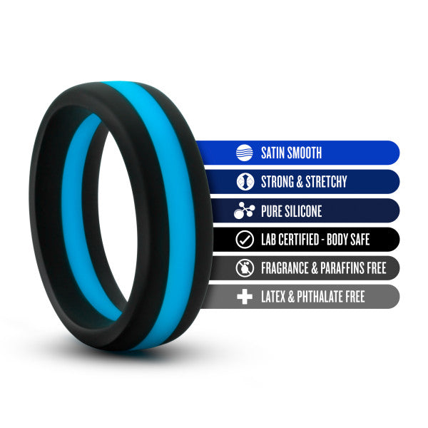 Performance Silicone Silicone Go Pro Cock Ring by Blush Novelties - Black & Blue with its features listed
