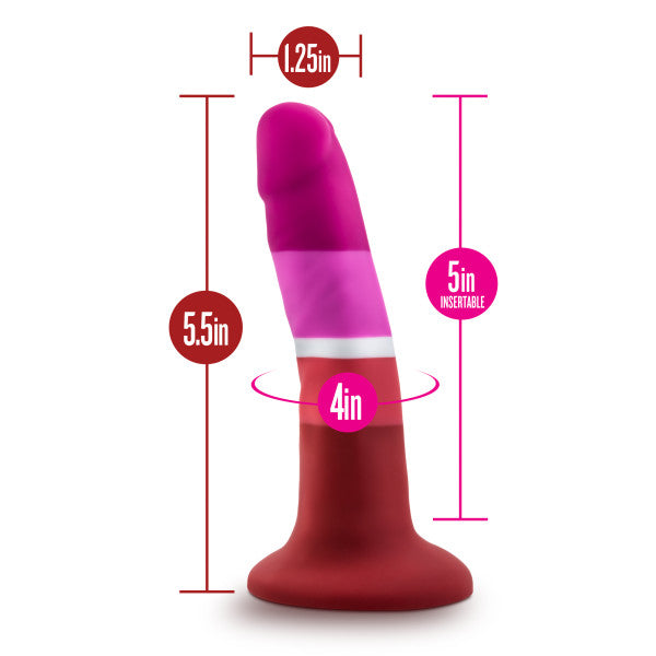 "Avant Pride P3 Beauty Silicone 5.5"" Dildo by Blush Novelties measurements"