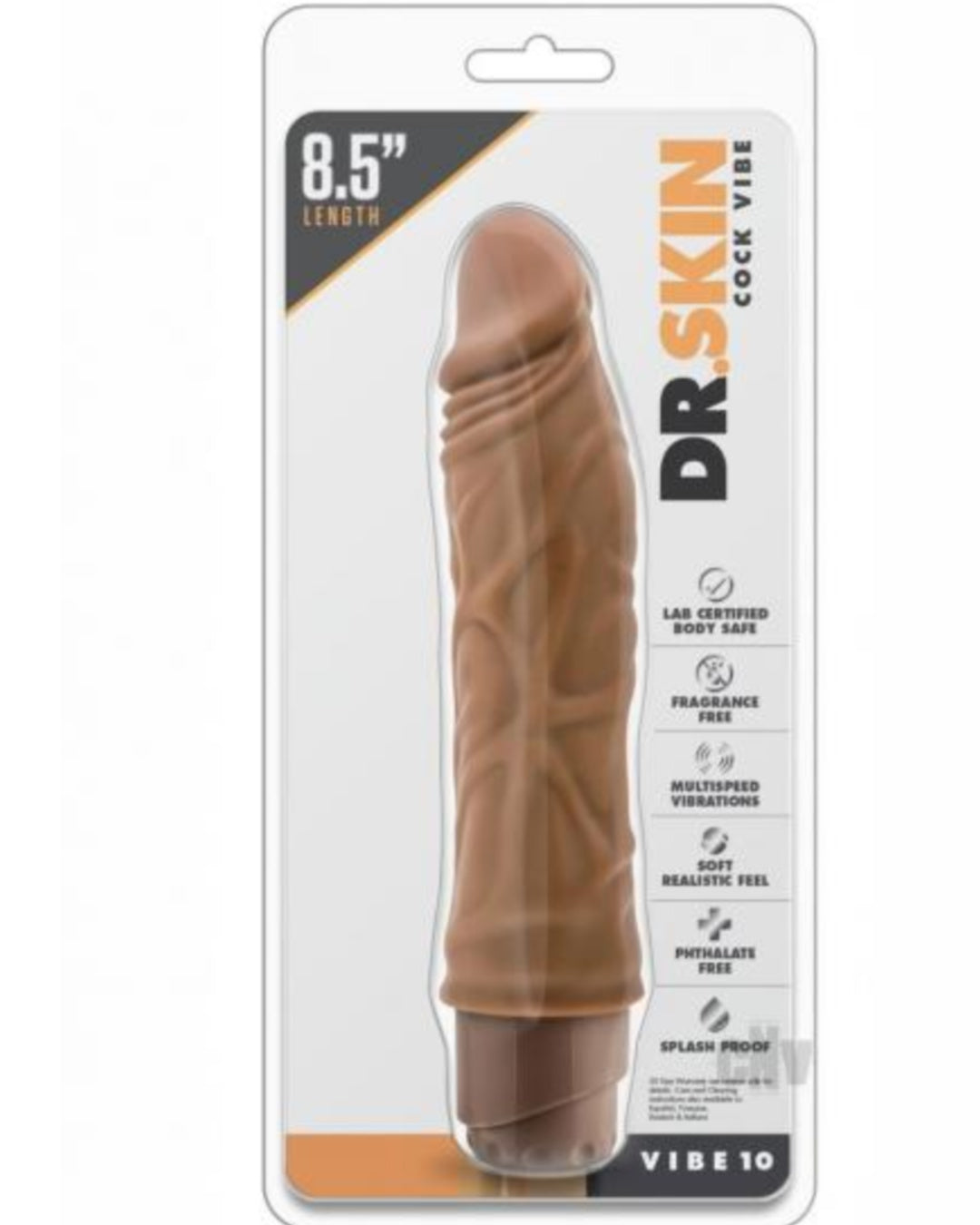 Dr Skin 10 Realistic 8.5 Inch Vibrating Dildo by Blush Novelties - Mocha in Package