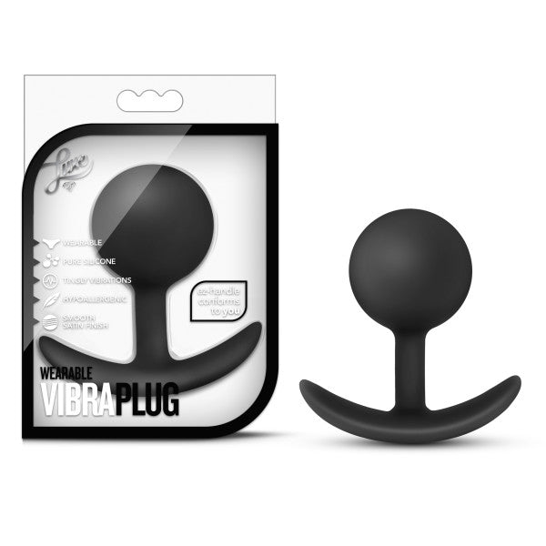 Luxe Wearable Silicone Vibra Butt Plug by Blush - Black package