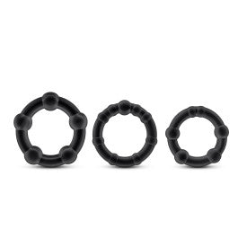 Stay Hard Beaded Cock Ring 3 Package by Blush Novelties - Assorted Colors black