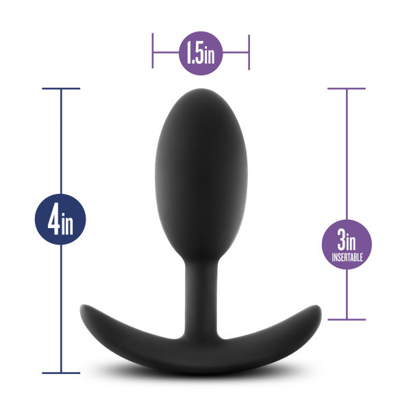 Luxe Wearable Silicone Vibra Slim Plug Medium by Blush - Black with measurements shown