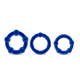 Stay Hard Beaded Cock Ring 3 Package by Blush Novelties - Assorted Colors blue