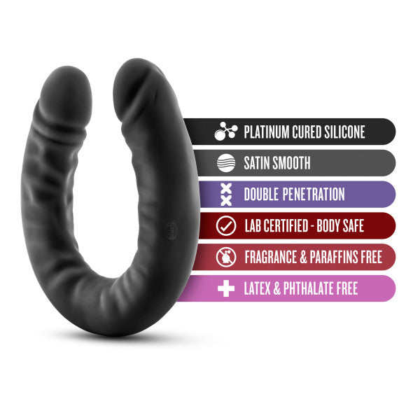 Ruse 18 inch Silicone Slim Double Dildo by Blush Novelties - Black features