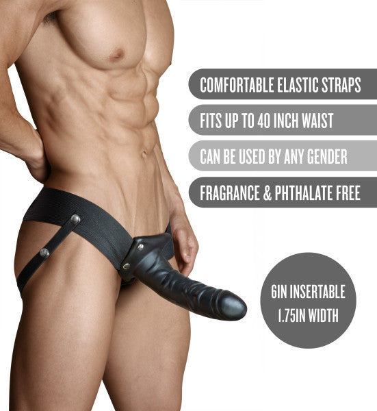 Dr Skin 6 Inch Hollow Penis Strap On by Blush - Black features