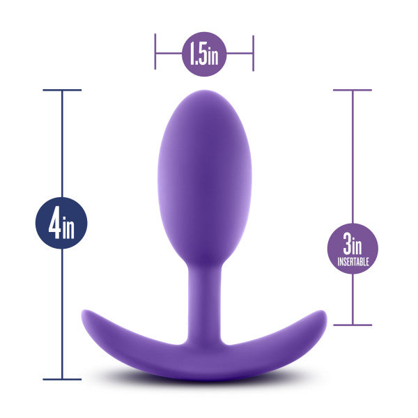 Luxe Wearable Silicone Vibra Slim Plug Medium by Blush - Purple showing its measurements