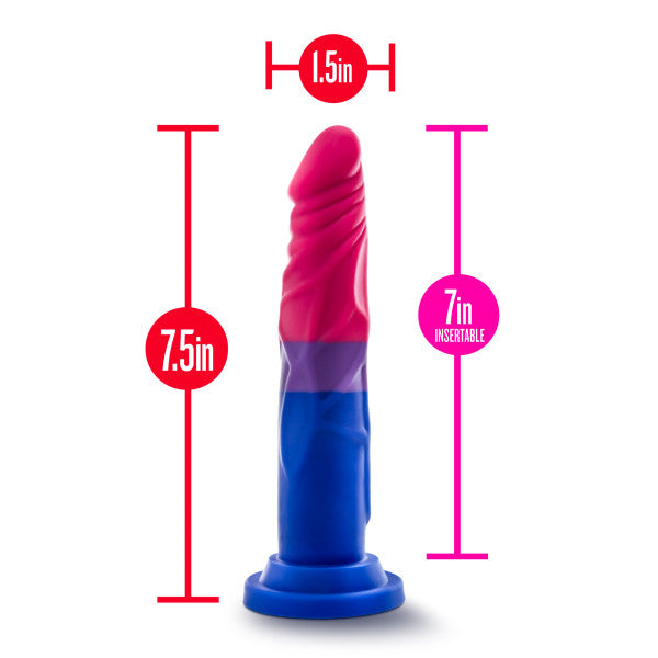 Avant Pride P8 Love 7.5 Inch Realistic Silicone Dildo by Blush with measurements