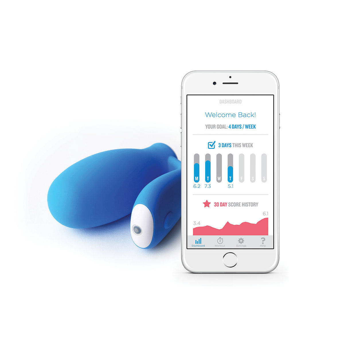 kGoal Smart Kegel Trainer by Minna - Sky Blue with smart phone