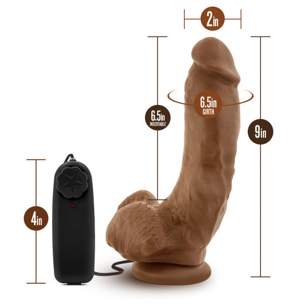 "Loverboy Dildos - The Boxer Vibrating 9"" Dildo by Blush Novelties - Mocha measurements"