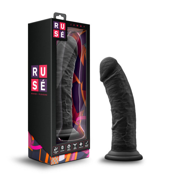 Ruse Jammy Silicone Thick Suction Cup 8 Inch Dildo by Blush Novelties - Black box