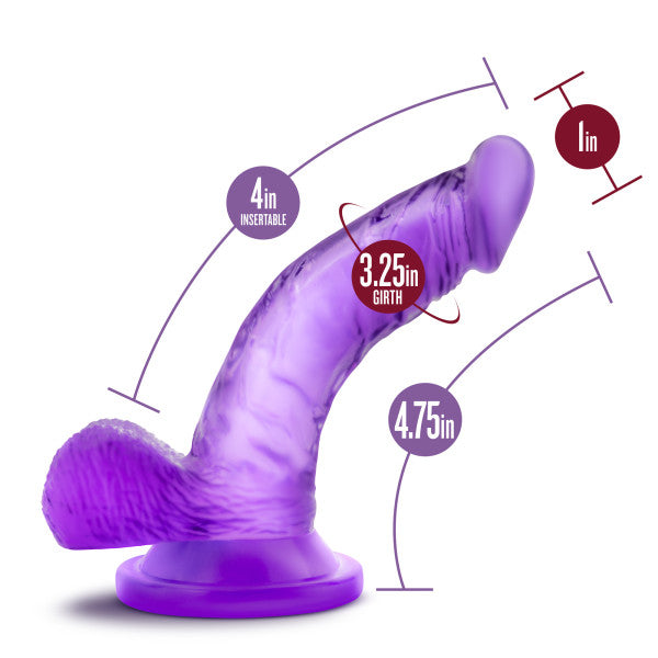 Naturally Yours 4 inch Mini Cock Purple Dildo by Blush Novelties measurements