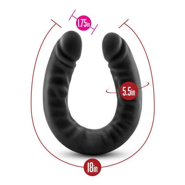 Ruse 18 inch Silicone Slim Double Dildo by Blush Novelties - Black measurements