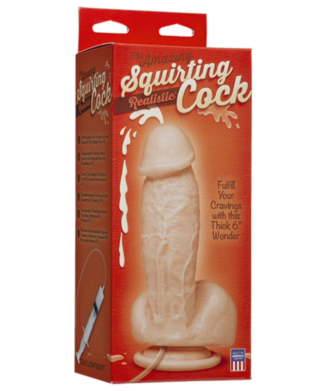 Squirting Realistic Cock 7.4 Inch Ejaculating Suction Cup Dildo  - Vanilla box