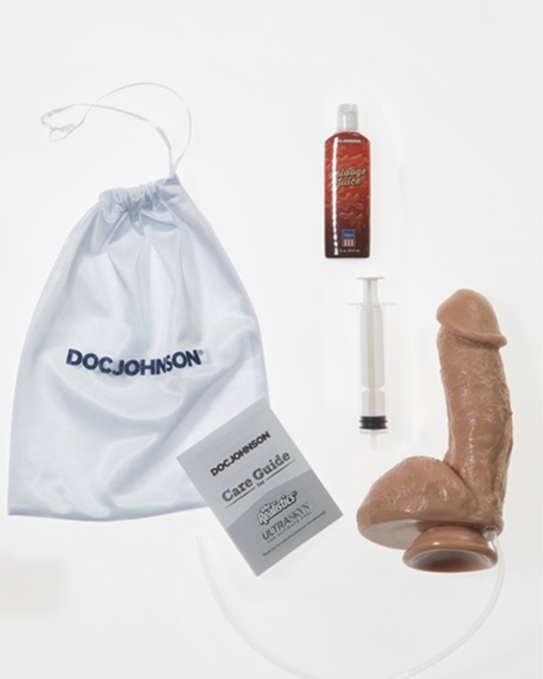 Squirting Realistic Cock 7.4 Inch Ejaculating Suction Cup Dildo  - Vanilla box contents