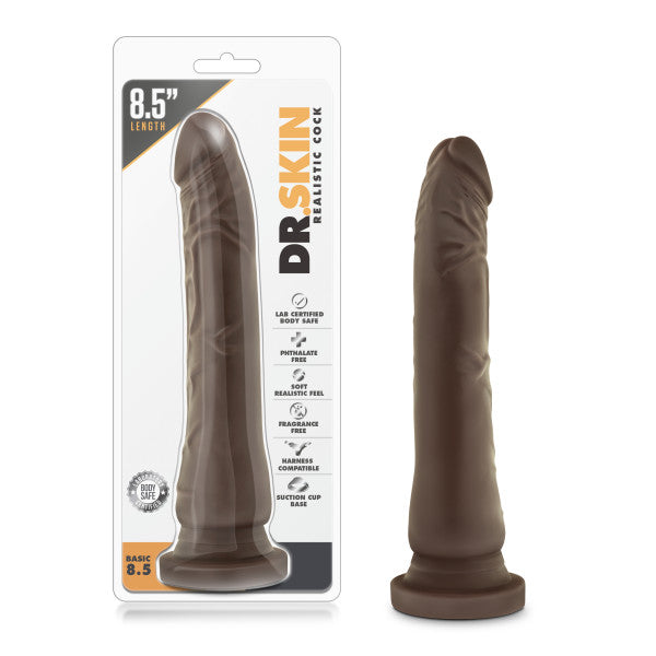 Dr. Skin Realistic Basic 8.5 Inch Suction Cup Dildo by Blush Novelties- Chocolate with the clamshell package
