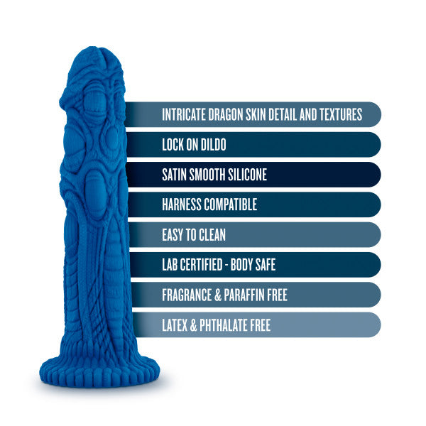"Realm Draken Silicone Lock On Harness Compatible 7.75"" Dildo - Blue features"