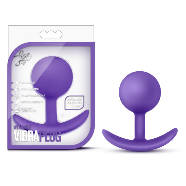 Luxe Wearable Silicone Vibra Butt Plug by Blush - Purple package