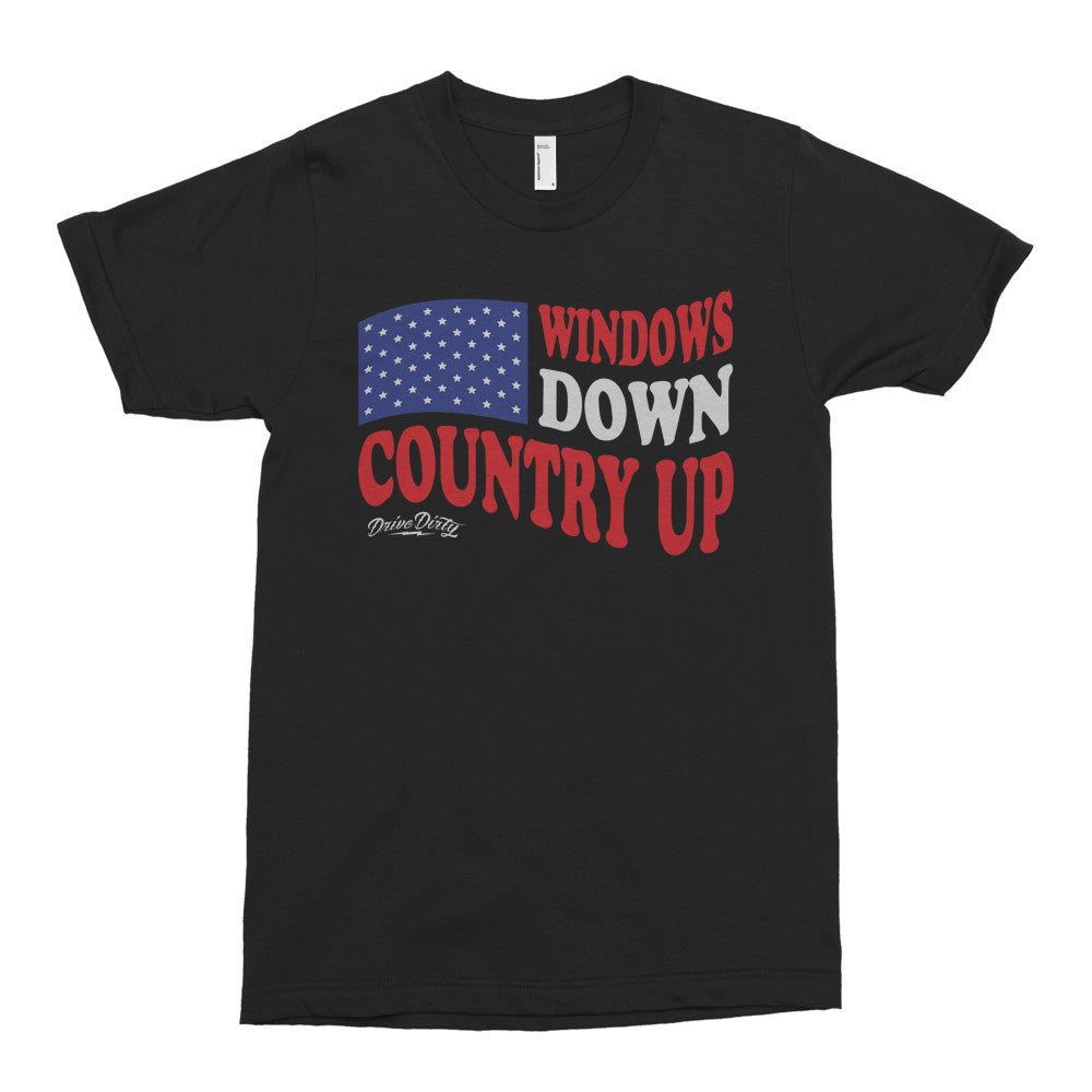 Windows Down Country Up Tee - Black